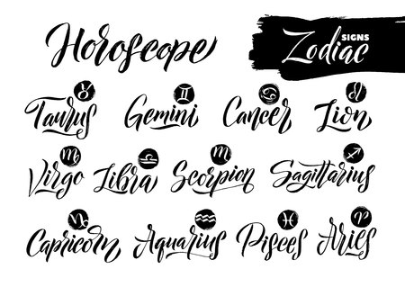 Calligraphy Zodiac Signs Set. Hand drawn horoscope astrology symbols, letterings grunge texture design, vector illustration white background. Ilustracja