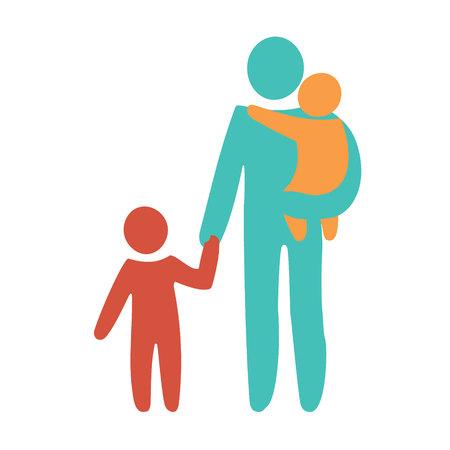 Glücklicher Alleinerziehender und Baby. Symbol mehrfarbig in einfachen Figuren. Symbol der Alleinerziehenden. Vektor kann als Logo verwendet werden. Logo