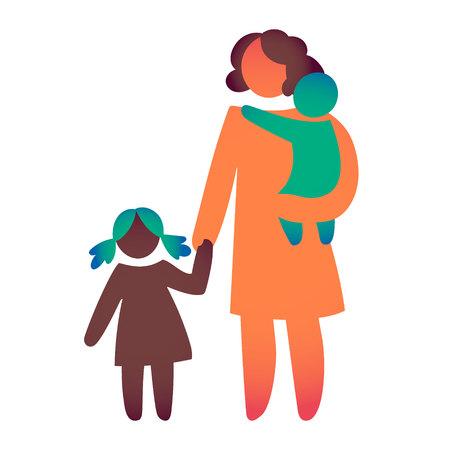 Gelukkige alleenstaande ouder en baby. Pictogram veelkleurig in eenvoudige cijfers. Symbool van alleenstaand ouderschap. Vector kan als logo worden gebruikt.