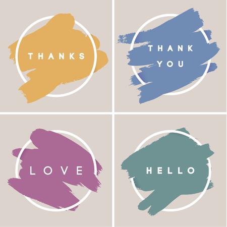 Pastell-Quadratstrich-Poster-Set. Malen Sie Aufenthalt Hintergrund Illustration für Motivationonal Zitat und inspirierende Sprüche. Plakatvorlage, Vektordesign. Vektorgrafik