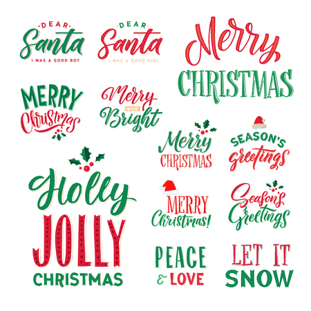 Merry Christmas Text Design Set.