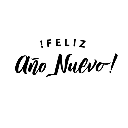 Happy New Year Stroke Spanish Calligraphy. Greeting Card Black Typography on White Background.