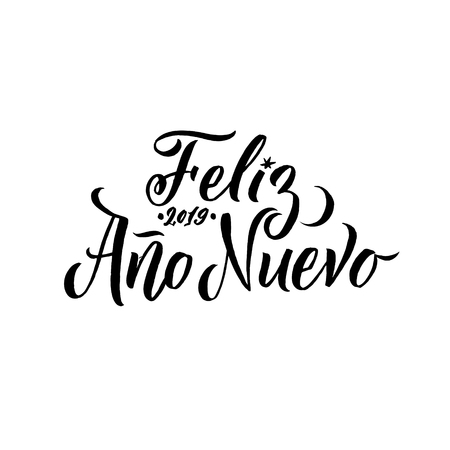 Calligraphie espagnole d'AVC de bonne année. Carte de voeux Typographie noire sur fond blanc. Vecteurs