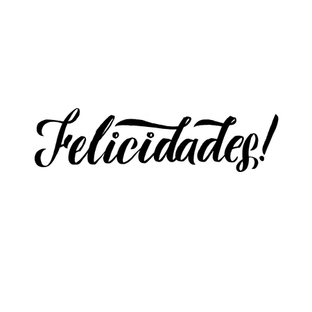 Congratilations! Stroke Spanish Calligraphy. Greeting Card Black Typography on White Background.