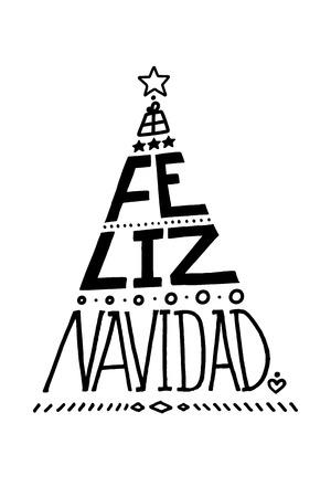 Lettering poster Feliz Navidad (Merry Christmas, spanish). Christmas Tree Shape. Ilustrace