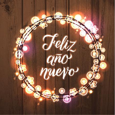 Feliz Ano Nuevo! Spanish Happy New Year. Glowing Christmas White Lights Wreath for Xmas Holiday Greeting Card Design. Ilustração
