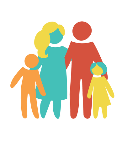 Happy family icon multicolored in simple figures. Two children, dad and mom stand together.