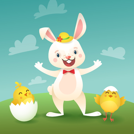 Happy Easter Greeting Card with Bunny and Chicks. White Cute Easter Bunny with Egg. Illustration