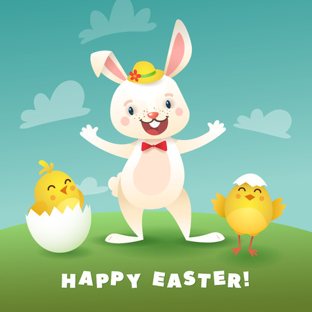 Happy Easter Greeting Card with Bunny and Chicks. White Cute Easter Bunny with Egg. Stock Vector - 120480593