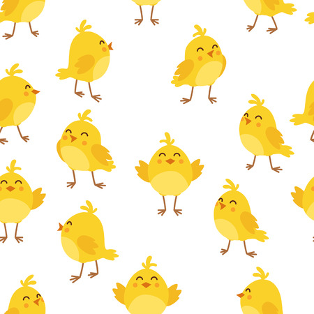 Patrón de pollo de dibujos animados lindo. Pollos amarillos divertidos en diferentes poses ilustración.