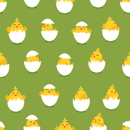 Cute cartoon chicken EASTERN pattern. Funny yellow chickens in different poses illustration. Çizim