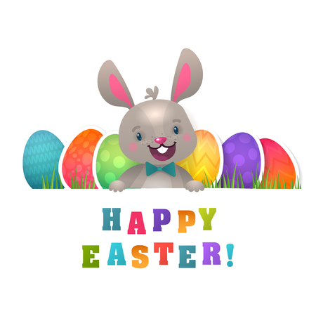 Happy Easter Greeting Card with Bunny and Flying Eggs. Cute Easter Bunny with Colorful Egg. Stock Illustratie
