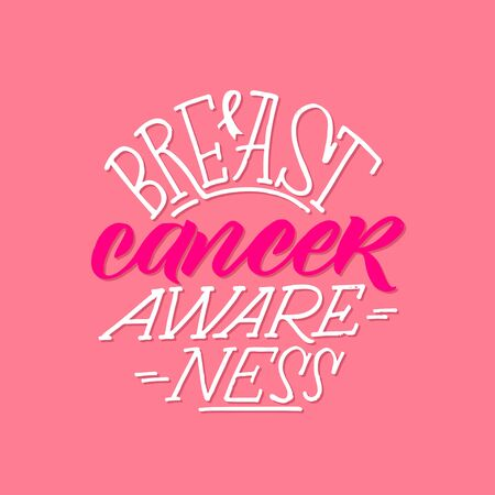 Breast Cancer Awareness Month Design. Pink Poster. Creative Pink And White Round Design, Motivational Banner. Çizim