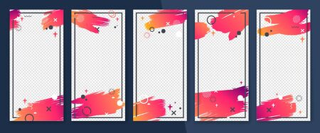 Social media story frame set. Colorful template with creative gradient strokes and memphis elements. Transparent mid-frame for streaming video. Website, gift card, smartphone template, web design