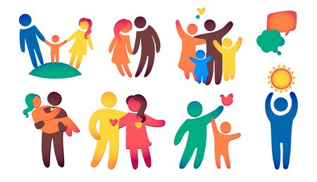 Happy family icon multicolored in simple figures set. Children, dads and moms stand together