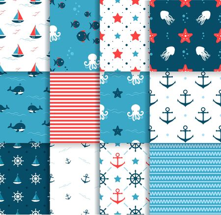 Seamless Pattern Set . Octopus, Fich and Starfishes. Marine background. Perfect for greetings, invitations, wrapping paper, textile, wedding and web design.