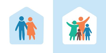 Stay at Home. Quarantine family icon multicolored in simple figures. Two children, dad and mom stand together. Vector can be used as logotype. Ilustração