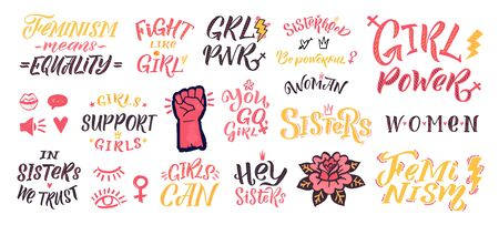 Feminism vector quote and icon set. Hand lettering quotes. Feminist sticker elements on white  background. Woman textile t-shirt design. Female hand drawn brush graphic vector illustration Ilustração