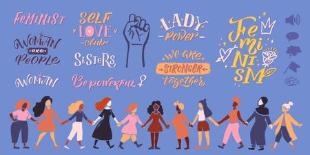 Feminism vector quote and icon set. Hand lettering quotes. Women friends stand and hold their feet, represent female strength. Vector hand lettering illustration Ilustração