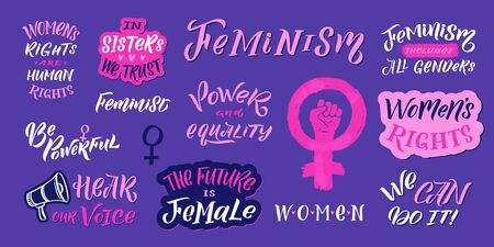 Feminism vector quote and icon set. Hand lettering quotes. Feminist pink elements on violet background. Woman textile t-shirt design. Female hand drawn brush graphic vector illustration