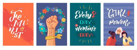 Feminism Vector Poster Set. Girl Power and Sisterhood. Hand lettering quotes. Clenched fist and struggle. Woman textile t-shirt design. Female hand drawn brush graphic vector illustration