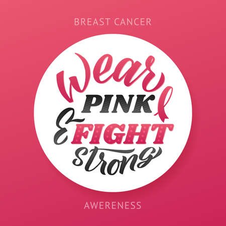 Breast Cancer Awareness Month Design. Pink Poster. Creative Pink And White Round Design, Motivational Banner.