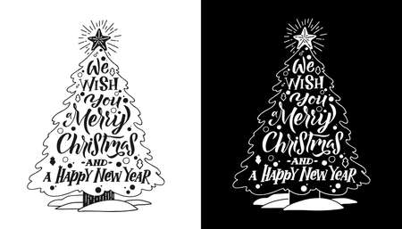 Christmas TREE calligraphy card. White on black background. Black on white background. Hand written lettering. Print design. Vector Ilustracja