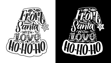 Santa Claus hat illustration. Christmas calligraphy card. White on black background. Black on white background. Hand written lettering. Print design. Vector Ilustracja