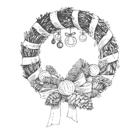 Christmas hand drawn vector elements. Sketch illustration with xmas decoration.