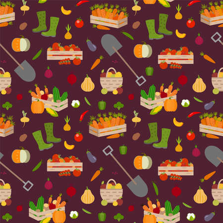 Vector vegetables seamless pattern in cartoon style. Harvest time. Collection farm product for restaurant menu, market label.