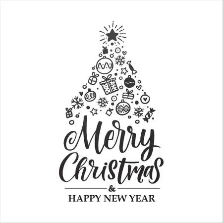 Merry Christmas vector lettering with christmas tree illustration. Holiday hand drawn black calligraphy for your design. White background.