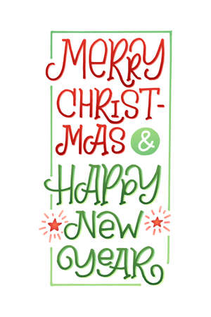 Merry Christmas and Happy New Year vector lettering. Holiday hand drawn calligraphy for your design.