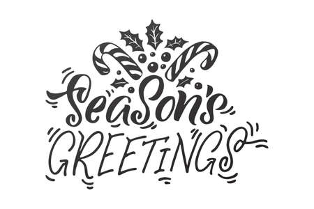Season's Greetings. Merry Christmas vector lettering, Holiday hand drawn black calligraphy for your design. White background.