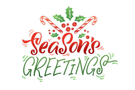 Season's Greetings. Merry Christmas vector lettering, Holiday hand drawn calligraphy for your design.