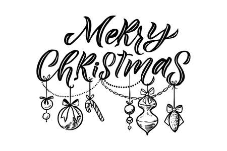 Merry Christmas vector lettering, Holiday hand drawn black calligraphy for your design. White background.