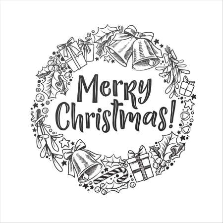 Merry Christmas vector lettering and wreath illustration. Holiday hand drawn black calligraphy for your design. White background. Stock Illustratie
