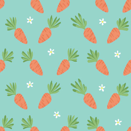 Carrot Seamless Pattern. Happy Easter. Carrots for Easter Bunny. Vector seamless texture with a lot of cartoon carrots.