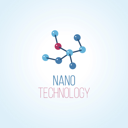 Nanotechnology vector logo template. Abstract blue and red molecule