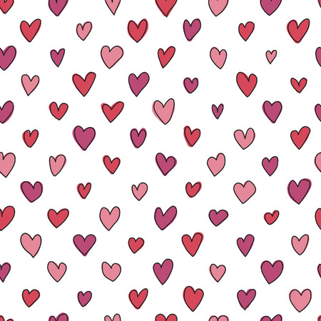 repetitive: Seamless hand drawn hearts pattern in shades of red and pink. Perfect for background, fabrics, clothing, websites.
