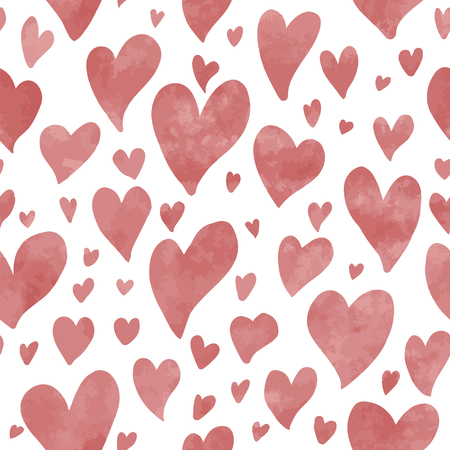 Seamless hand drawn hearts pattern in red watercolor effect. Perfect for background, fabrics, clothing, websites.