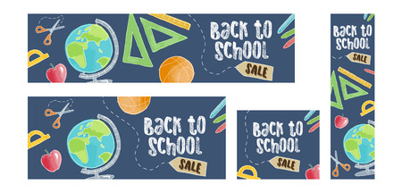sketch out: Back to school sale set of four web banners. Four different sizes, doodle cartoon style Illustration