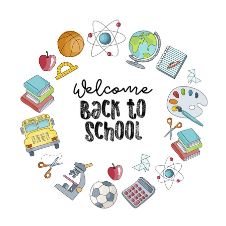 Welcome back to school vector illustration. Colorful sketch of school supplies isolated on a white background.