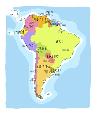 Hand drawn vector map of South America. Text, line  and colors on different layers. Perfect for infographics. Includes Brazil, Argentina, Chile, Paraguay, Uruguay, Colombia,  Stock Illustratie