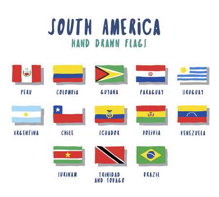 Set of flags of South American countries. Hand drawn cartoon style
