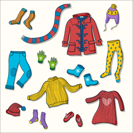 Winter clothing set of vector illustrations. Collection of warm clothes: jumper, coat, scarf, gloves and hats in colorful hand drawn style Stock Vector - 90754307