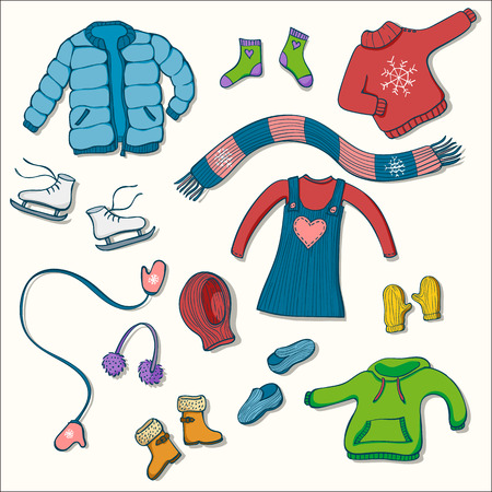 Winter clothing set of vector illustrations. Collection of warm clothes: jumper, coat, scarf, gloves and hats in colorful hand drawn style