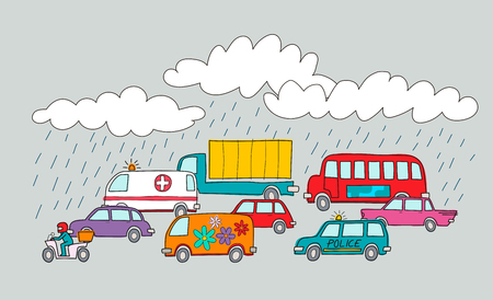 Traffic jam in a rainy day style colorful design vector illustration