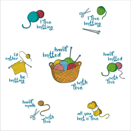 Collection of 7 labels with knitting related quotes: I love knitting, all you knit is love, I'd rather be knitting, hand knitted with love. Colorful objects and text Vettoriali