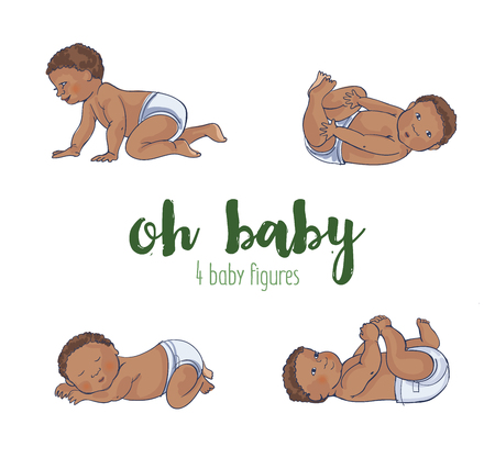 Set of four cute African baby illustrations. Four different hand drawn adorable babies Ilustração