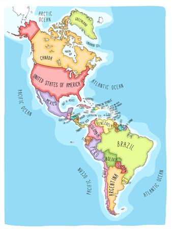 Hand drawn vector map of the Americas. Colorful cartoon style cartography of north and South America including United States, Canada, Mexico, Brazil, Argentina, Cuba, Colombia, Venezuela... Illustration